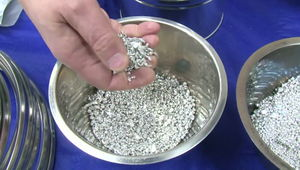 Iridium granules at Johnson Matthey noble metal plant.jpg