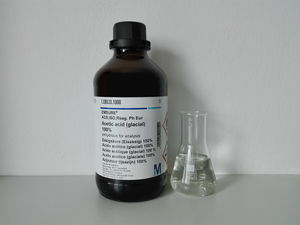Acetic acid glacial bottle and sample.jpg