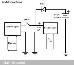 Simple Battery Backup For Electromagnet.jpg - 48kB