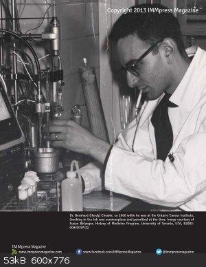 Dr Bernhard Cinader at OCI smoking in the lab 1960.jpg - 53kB